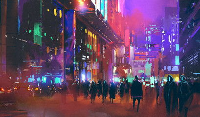 people walking in the sci-fi city at night with colorful light,illustration painting © grandfailure