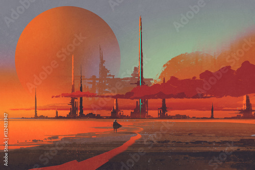 Tuinposter Baksteen sci-fi contruction in the desert,illustration digital painting