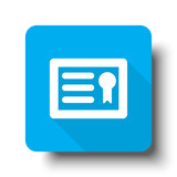 White Diploma icon on blue web button