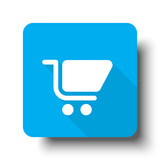 White Shopping Cart icon on blue web button