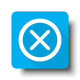 White Cancel icon on blue web button