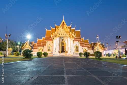 Poster Wat Benchamabophit is a Buddhist temple in the Dusit district of Bangkok, Thaila