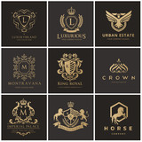 Luxury logo collection,Design for Boutique hotel,Resort,Restaurant, Royalty, Victorian identity, luxury Hotel, Heraldic, Fashion,VIP,Club,education Full vector logo template.