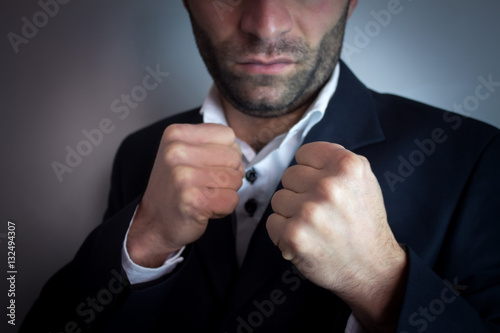 Poster A man gestures combat fighter.