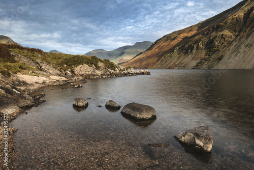 Poster Beautiful sunset landscape image of Wast Water and mountains in