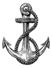 Anchor Vintage Woodcut Style Sticker