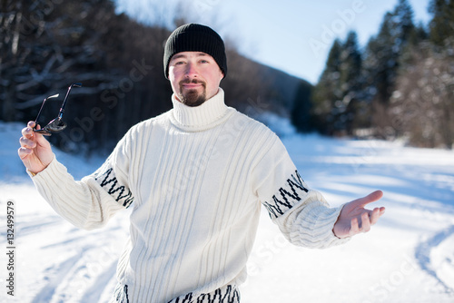 Poster man in winter clothes outdoor