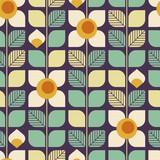 bezszwowych geometrycznych retro wzorca liści i kwiatów