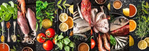 collage ingredienti per pesce alla griglia