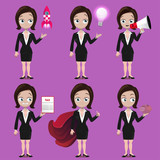 Set of cartoon businesswoman characters