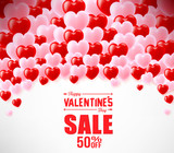 Valentines Sale Banner With Hearts For Promotional Purposes