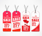 Valentines Day Sale Beautiful Tags In Red And White Color With Shadow On White Background