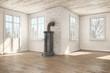 Eine skandinavische, nordische, leerstehende Wohnung im Winter mit Kamin
