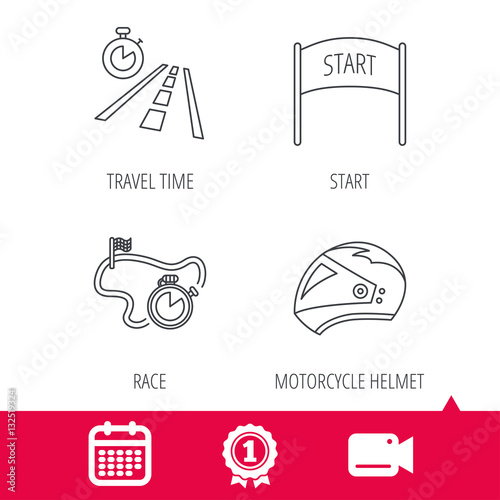 Foto op Plexiglas F1 Achievement and video cam signs. Motorcycle helmet, race timer and travel time icons. Start race linear sign. Calendar icon. Vector