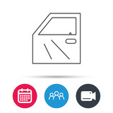 Car door icon. Automobile lock sign. Group of people, video cam and calendar icons. Vector