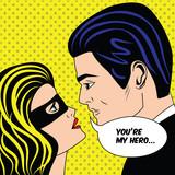 Mężczyzna i kobieta w czarnej masce superbohatera, zakochana para w stylu komiksu