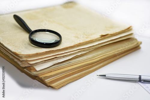 Poster Old books with pen. Isolated documents