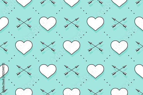 Cotton fabric Seamless pattern with hearts, arrows for Valentine Day, Lovers Day or wedding. Hand drawn design for love related themes for wrapping paper, wallpaper, background, greeting card. Vector Illustration