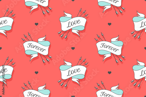 Cotton fabric Seamless pattern with words Love and Forever for Valentine Day, Lovers Day or wedding. Hand drawn design in Love theme for wrapping paper, packaging, wallpaper, background. Vector Illustration
