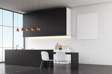 Kitchen interior: white walls and poster