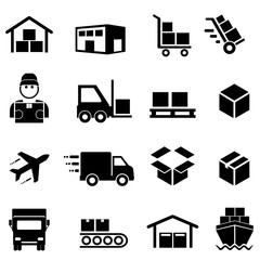 Shipping, distribution, cargo and logistics icons