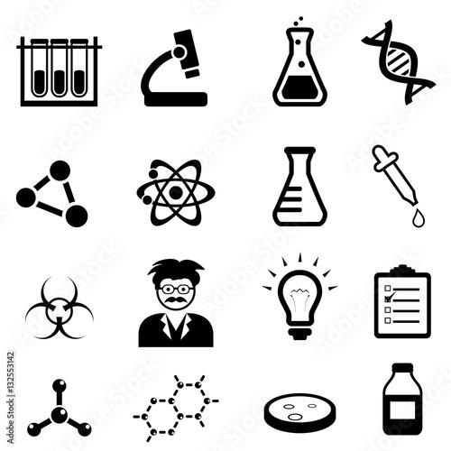 Chemistry, biology science icon set