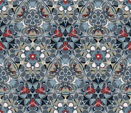 Kaleidoscope seamless pattern. Composed of color abstract shapes. Useful as design element for texture, pattern and artistic compositions. - 132555509