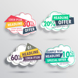 abstract discount and offers cloud stickers