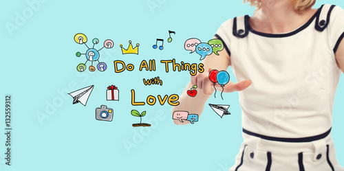 Poster Do All Things With Love concept with young woman