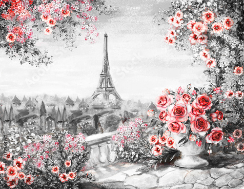 oil-painting-summer-in-paris-gentle-city-landscape-flower-rose-and-leaf-view-from-above-balcony-eiffel-tower-france-wallpaper-modern-art-black-white-and-red