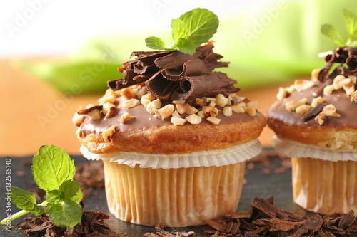 Poster Hazelnut muffins with chocolate topping