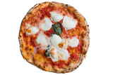 A real neapolitan pizza margherita on white backgrund