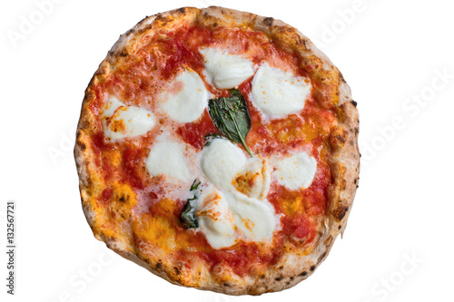 Aluminium Napels A real neapolitan pizza margherita on white backgrund