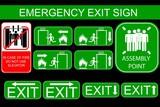 Set of Emergency Exit Sign, at Black Background