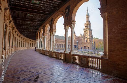 Spain Square, Plaza de Espana, Seville, Spain. View from porch