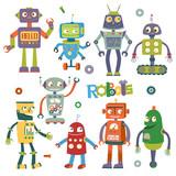 Set of vector robots in cartoon style