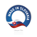 Made in Slovakia flag blue color label button banner