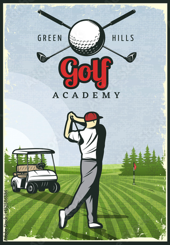 Colorful Retro Golf Poster