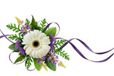 Arrangement with flowers and silk ribbons