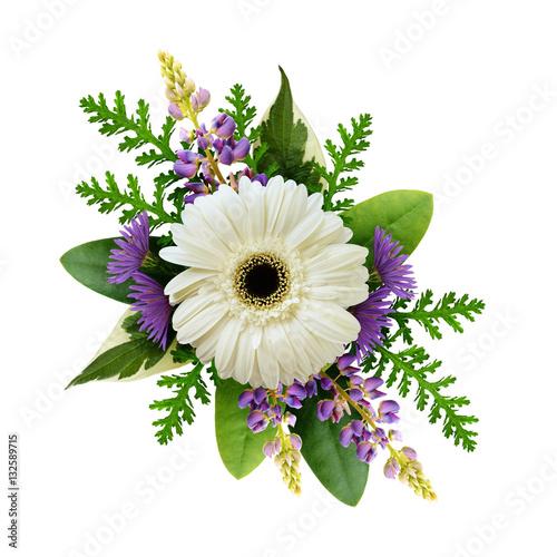Aluminium Gerbera Arrangement with white gerbera and purple flowers