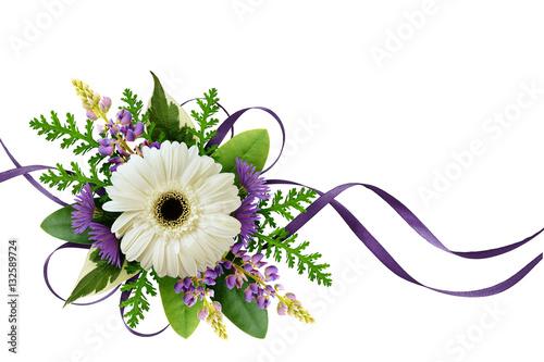 Fotobehang Gerbera Arrangement with flowers and silk ribbons