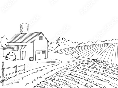 Plexiglas Boerderij Farm field graphic black white sketch illustration vector