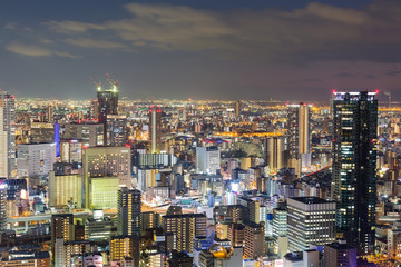 Aerial view Osaka city central business downtown night view, Japan