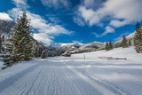 Snowy road in Chocholowska Valley in winter, Tatra Mountains