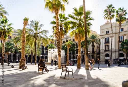 Poster Park mit Palmen in Barcelona, Spanien