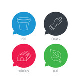 Colored speech bubbles. Leaf, scissors and pot icons. Hothouse linear sign. Flat web buttons with linear icons. Vector