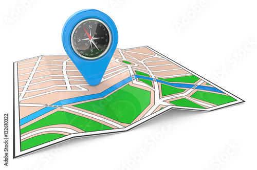 Poster GPS Pointer. 3D render of a Map with GPS Pointer and Compass.