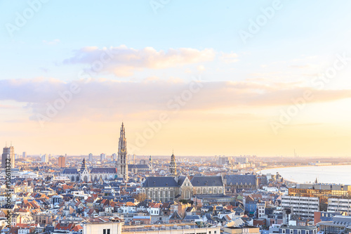 Foto op Plexiglas Antwerpen View over Antwerp with cathedral of our lady taken