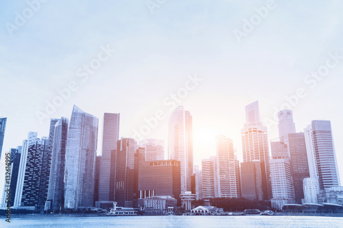 Poster modern city, beautiful office business buildings, urban background