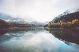 Fototapety Lake and autumn Forest Landscape Travel foggy serene scenic view wild nature